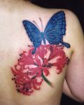 Tattoo with butterfly an flower