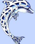 Blue dolphin with patterns