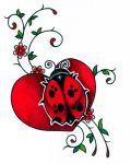 Red ladybug on heart among flower