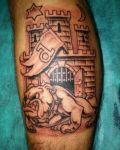 Interesting tattoo on calf