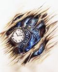 Clock in heart biomech tattoo