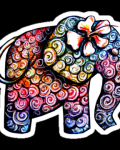 Colourful elephant with flower