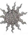 Decorative sun tattoo design