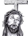 Jesus face and cross
