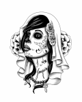 Face of zombie woman tattoo