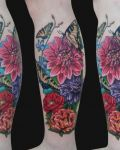 Flowers and insects tattoo