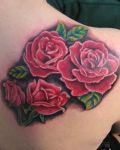 Four red roses as tattoo