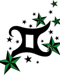 Gemini sign with green stars