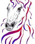 Horse with ribbons
