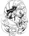 Man on horse tattoo design
