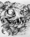 Monster skull and flowers