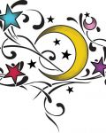 Yellow moon and colourful stars
