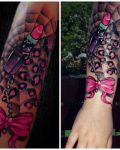 Pink ribbon and lipstick tattoo