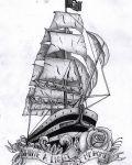Design with pirates ship