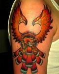 Orange bird arm tattoo