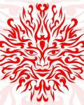 Red sun with face