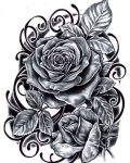 Roses with leafs tattoo design