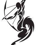 Black design with sagittarius