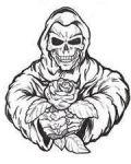 Bad skeleton with rose