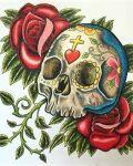 Skull among roses tattoo design