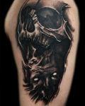 Skull nad devil face on the shoulder