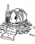 Skull among money