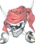 Skull with red ribbon design