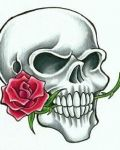 Skull with red rose tattoo design