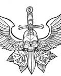 Skull with wings, roses and sword