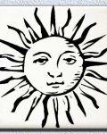 Black sun with sad face