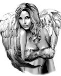 Tattoo with woman as angel