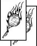Tennis rocket in fire