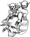 Two monsters on skull