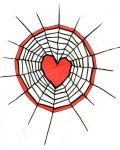 Spider's web with heart