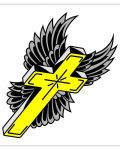Yellow cross with wing