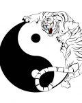 Yin Yang symbol and tiger