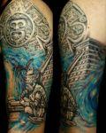 Symbols and budha tattoo