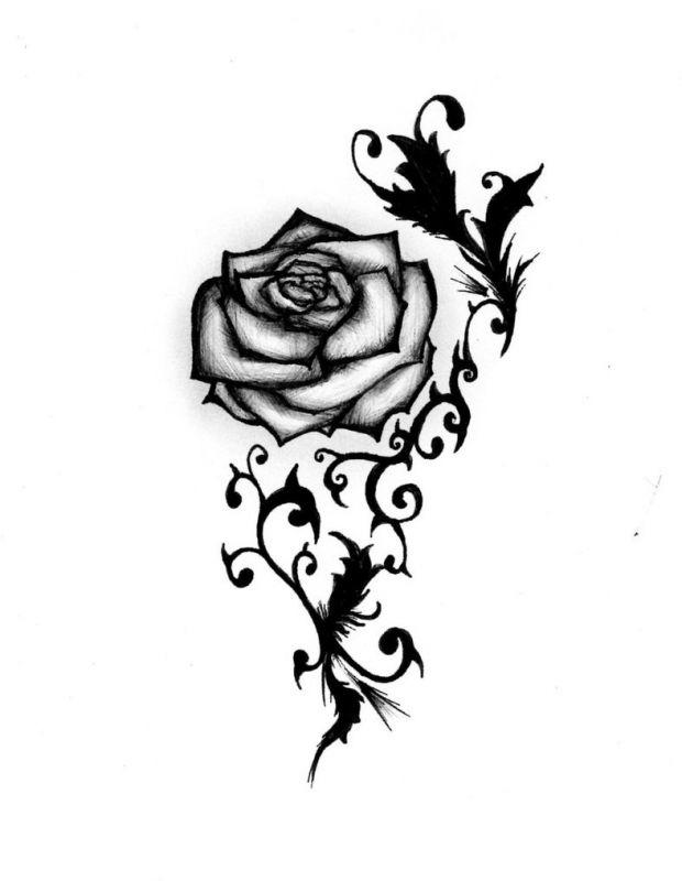 Tribal rose in black