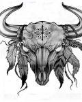 Bull head with plume